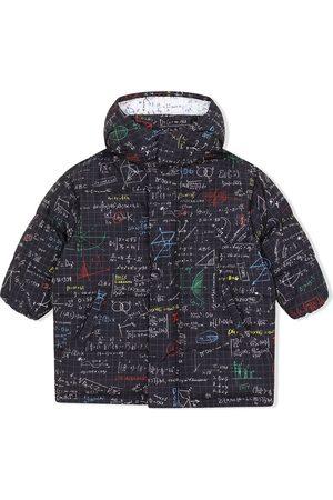 Dolce & Gabbana Kids Boys Puffer Jackets - Maths-print hooded padded coat