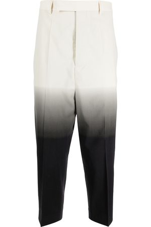Rick Owens Gradient-effect cropped tailored trousers