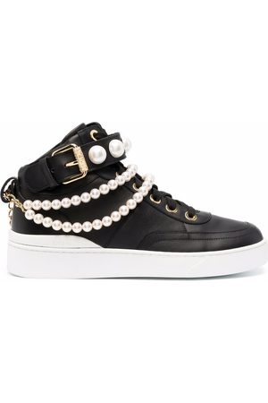 Moschino Women Sneakers - Pearl-embellished mid-top sneakers