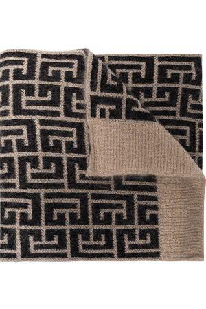 Balmain Monogram pattern knitted scarf