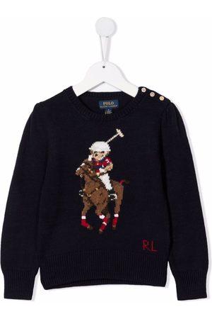 Ralph Lauren Girls Polo Shirts - Polo Pony intarsia jumper