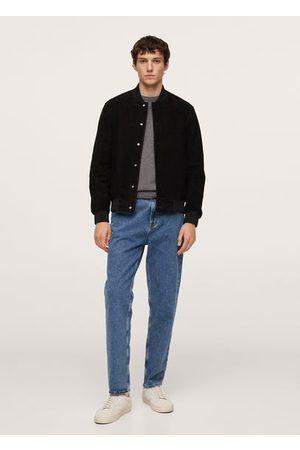 MANGO Leather bomber jacket