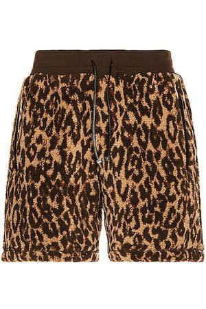 AMIRI Printed Leopard Polar Fleece Shorts in