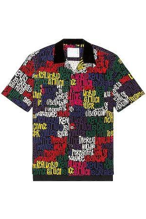 SACAI Eric Haze Message Print Short Sleeve Shirt in