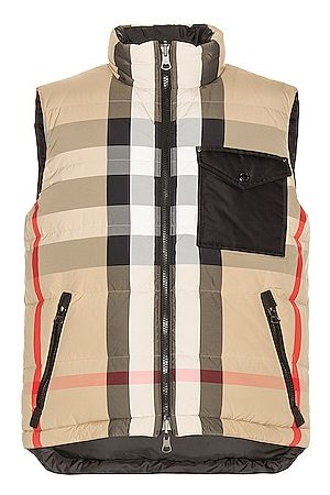 Burberry Reversible Check Down Gilet in