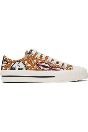 Burberry White & Orange Scribble Larkhall Sneakers