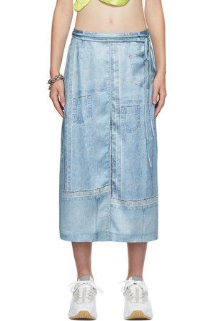 Acne Studios Blue Satin Denim Print Skirt