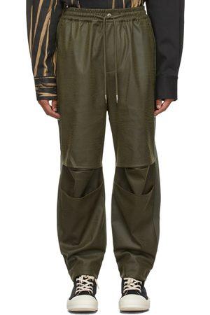 Feng Chen Wang Khaki Faux-Leather & Twill Trousers