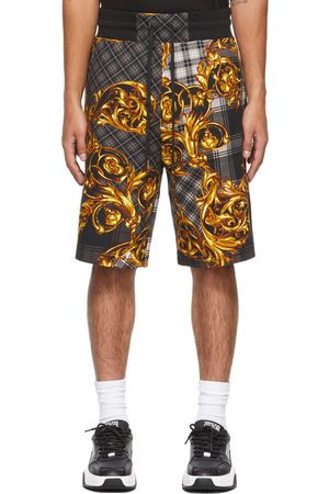 Versace Jeans Couture Grey & Gold Tartan Baroque Shorts