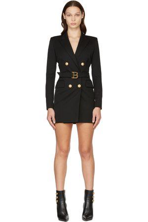 Balmain Black Wool Logo Belt Blazer Dress