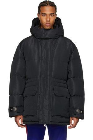 Alexander McQueen Black Faille Graffiti Puffer Jacket