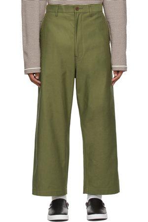 Junya Watanabe Green Cropped Wide-Leg Trousers