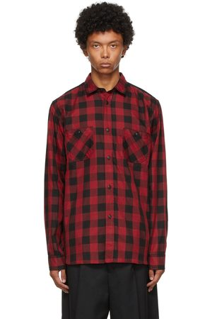 Junya Watanabe Red Paneled Flannel Shirt