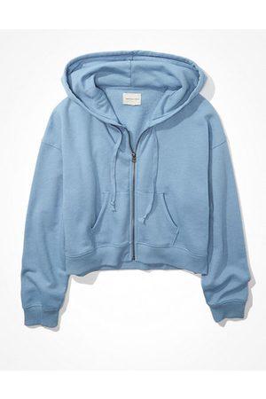 American Eagle Outfitters Fleece Cropped Zip-Up Hoodie Women's XXS
