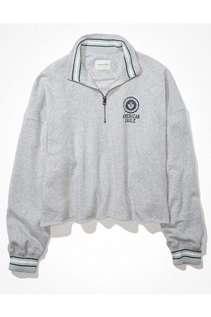 American Eagle Outfitters Fleece Oversized Quarter Zip-Up Sweatshirt Women's XXS