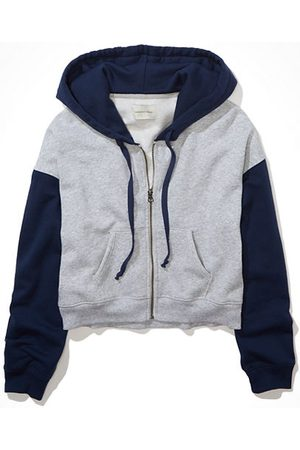 American Eagle Outfitters Women Hoodies - Fleece Cropped Zip-Up Hoodie Women's XXS