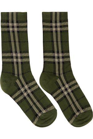Burberry Green Intarsia Check Mid Socks