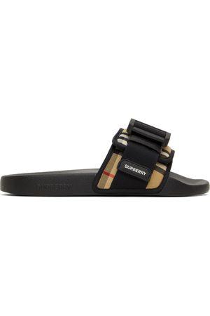 Burberry Beige & Black Buckled Strap Slides