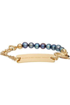 In Gold We Trust SSENSE Exclusive Chain & Pearl Bracelet
