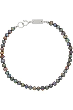 In Gold We Trust SSENSE Exclusive Silver & Black Pearl Necklace