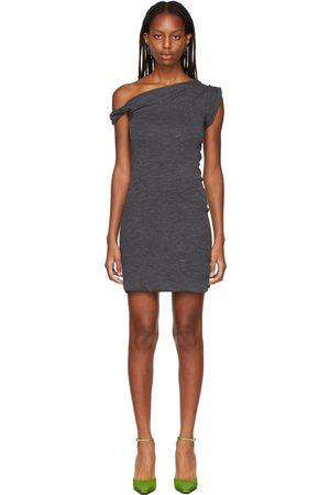 The Attico Grey Off The Shoulder Mini Dress