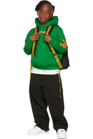 OFF-WHITE Kids Green Script Logo Hoodie