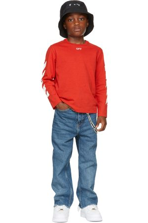 OFF-WHITE Kids Red Stamp Logo Long Sleeve T-Shirt