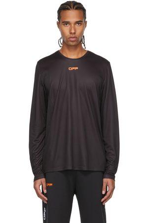 OFF-WHITE Black & Orange Active Logo Mesh Long Sleeve T-Shirt