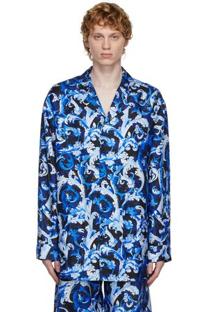 VERSACE Blue Silk Baroccoflage Shirt