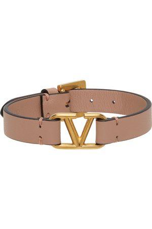 VALENTINO GARAVANI Pink Leather VLogo Bracelet