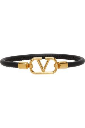 VALENTINO GARAVANI Black Leather VLogo Bracelet