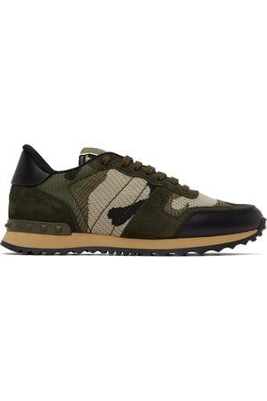 VALENTINO GARAVANI Green Camo Mesh Rockrunner Sneakers