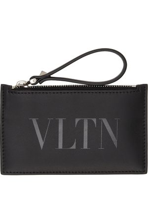 VALENTINO GARAVANI Black 'VLTN' Zip Card Holder
