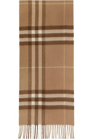 Burberry Women Scarves - Tan Cashmere Giant Check Scarf