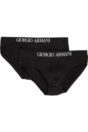 Armani Men Briefs - Two-Pack Black Logo Briefs