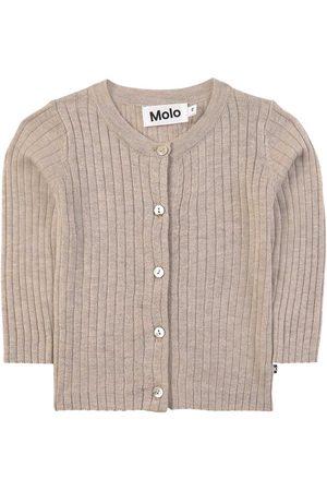 Molo Doeskin Melange Georgette Cardigan - 56 cm (1-2 Months) - Khaki - Cardigans