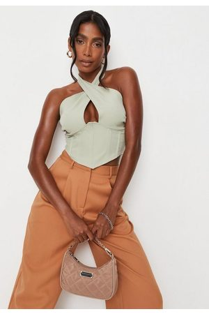 Missguided Tall Sage Wrap Halterneck Corset Top