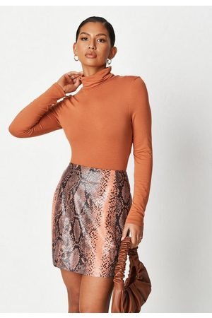 Missguided Women Printed Skirts - Tall Snake Print Faux Leather Mini Skirt