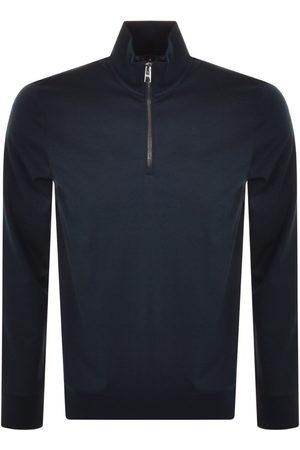 Boss Business Men Sweatshirts - BOSS Sidney 69 Half Zip Sweatshirt Navy