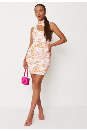 Missguided Women Party Dresses - Abstract Print Slinky Double Layered Cut Out Mini Dress