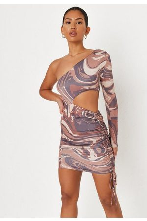 Missguided Marble Print Double Layer Slinky One Shoulder Mini Dress
