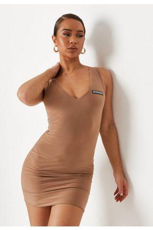 Missguided Chocolate Slinky Double Layered V Neck Mini Dress