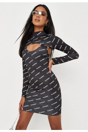 Missguided Playboy X Repeat Print Mini Dress And Arm Warmer Co Ord Set