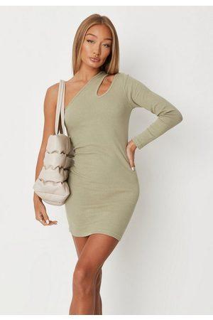 Missguided Petite Khaki Rib Asymmetric Sleeve Mini Dress