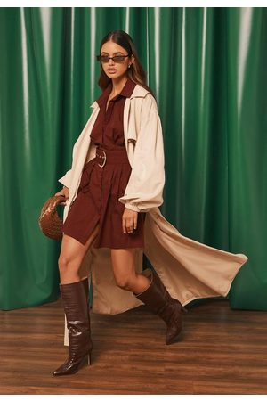 Missguided Wine Belted Shirt Dress