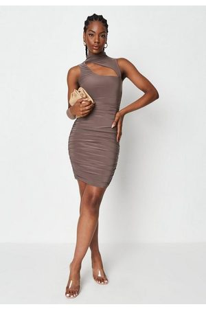 Missguided Slinky Double Layered Cut Out High Neck Mini Dress