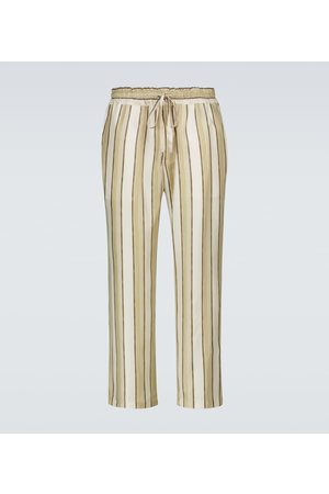 COMMAS Striped silk twill pants