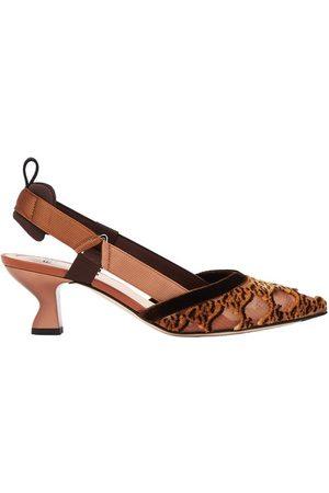 Fendi Women Outdoor Shoes - Mesh and embroidery medium-heeled slingbacks