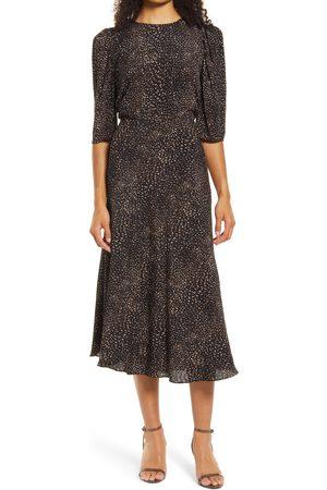Halogen Women's Halogen Puff Sleeve Midi Dress