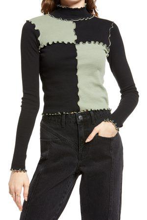 BP. Women's Seam Detail Rib Turtleneck Pullover